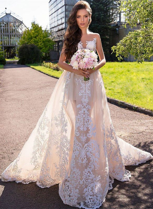 Chic Sleeveless Lace Wedding Dresses | Long Tulle Mermaid Bridal Gowns 2020