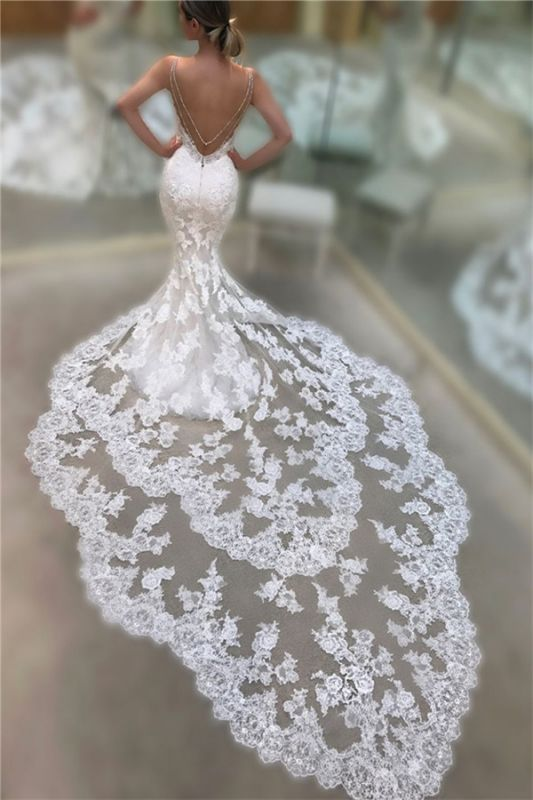 Cathedral Lace Train Backless Wedding Dresses Cheap 2021 | V-neck Spaghetti Straps Sheath Bridal Gowns