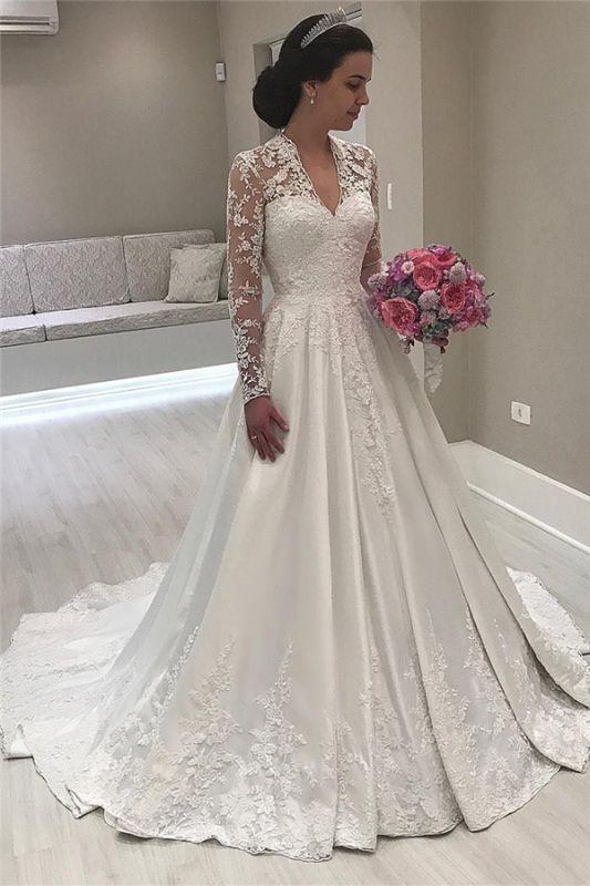 V-Ausschnitt Spitze Langarm Brautkleider Vintage | Satin Appliques 2021 Königliches Hochzeitskleid