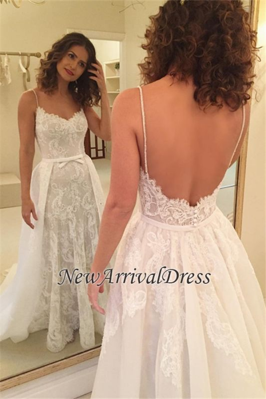 3cf7066f Spaghetti-Straps Sexy Backless Sheath Appliques Wedding Dresses [Item Code:  D153413441323352]