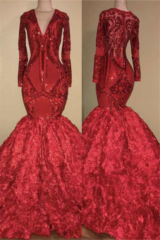 Mermaid Floral Red Long Prom Dresses Cheap | Long Sleeve Luxury Sparkly Evening Dresses