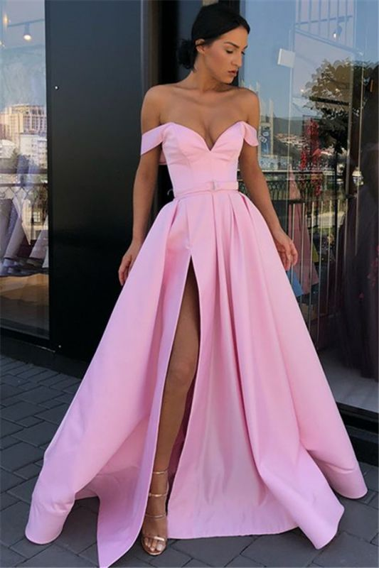 Candy Pink Sexy Side Slit Prom Dresses Cheap | Off The Shoulder Long Formal Evening Gowns
