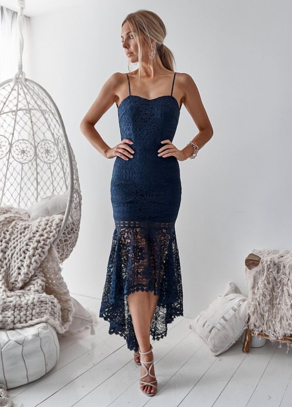 Cute Lace Spaghetti Strap Hi-Lo Homecoming Dress | Mermaid Short Party Gown