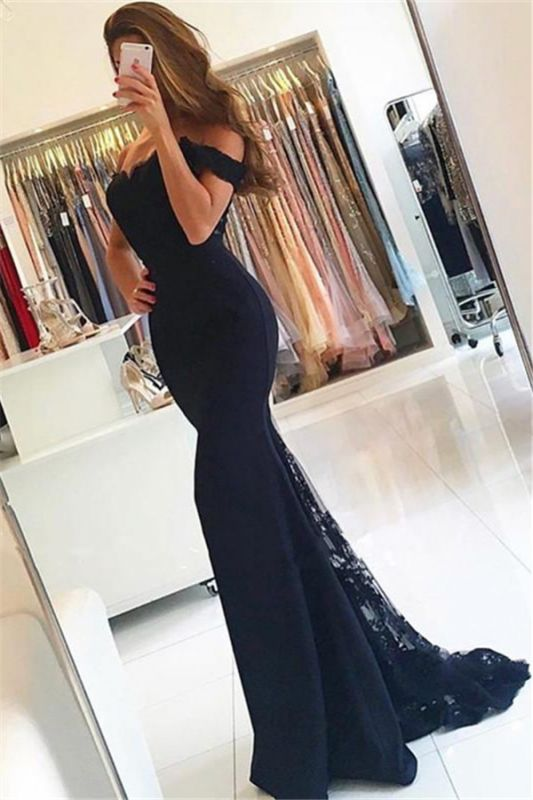 Off The Shoulder Lace Prom Dresses for Juniors | Mermaid Open Back Sexy Evening Gowns