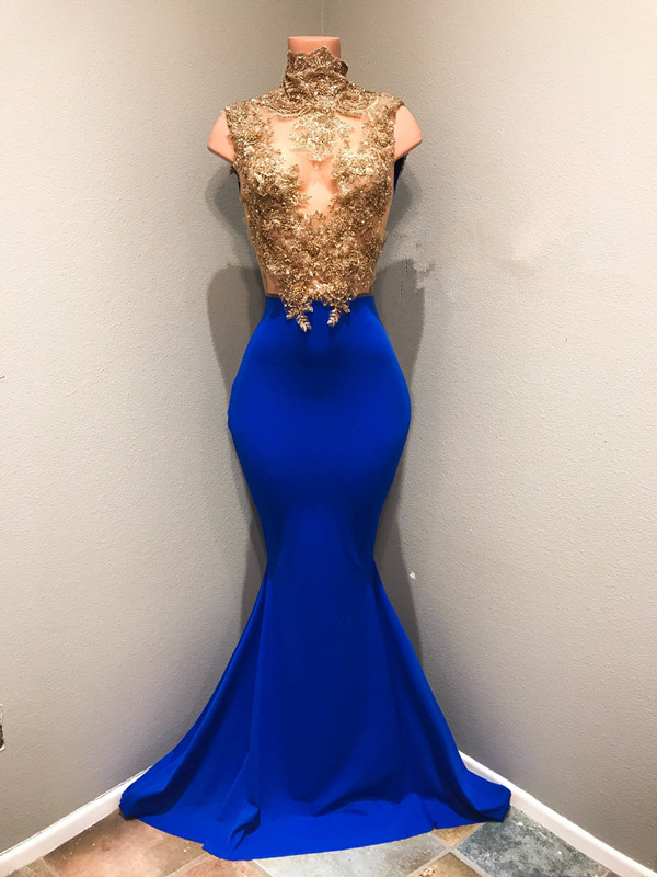 0441fc975860 royal blue high neck mermaid lace appliques prom dress,prom dress [Item  Code: D153432588155815]