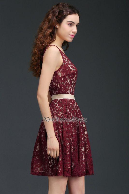 Sleeveless V-Neck Burgundy A-Line Short Lace Homecoming Dresses
