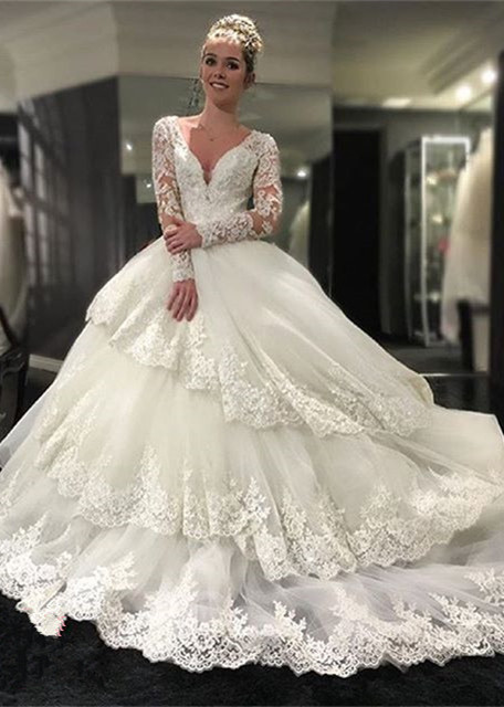 Three-Layers Long Sleeve Cheap Online New Arrival Lace Appliques Delicate Elegant Ball Gown Wedding Dresses