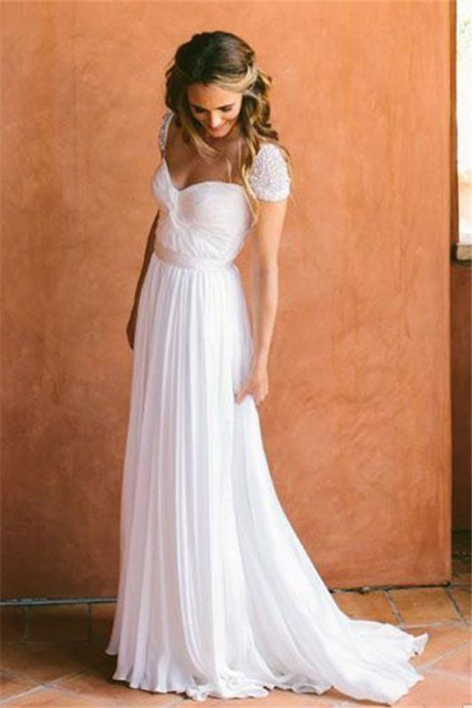 Cap Sleeves Chiffon Bohemian Wedding Dresses | Summer Beach Cheap Bridal Gowns Boho