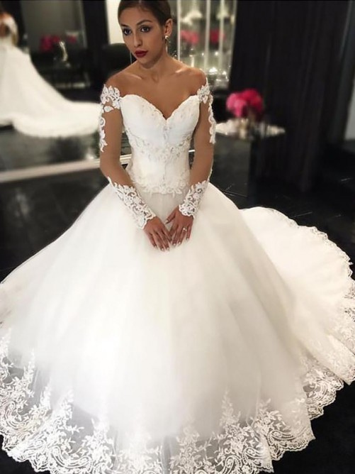 Gorgeous  New Arrival Lace Long Sleeve Elegant Wedding Dresses | Off The Shoulder Bridal Gowns