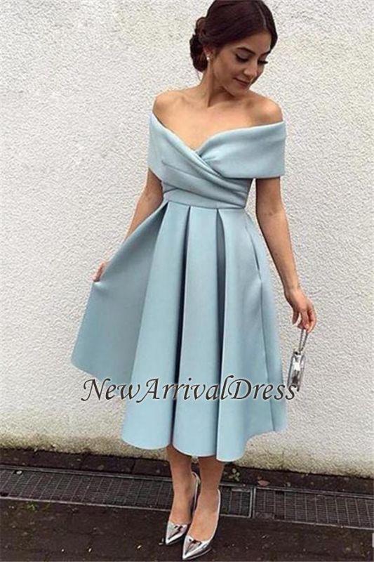 Tea-Length Baby-Blue Satin Off-the-shoulder Elegant New Evening Dresses