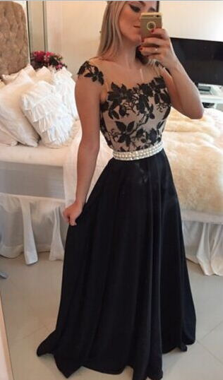 Sheer Lace Black Chiffon Prom Dresses Capped Sleeves Pearls Belt Open Back Modest Formal Long Evening Gowns BT00