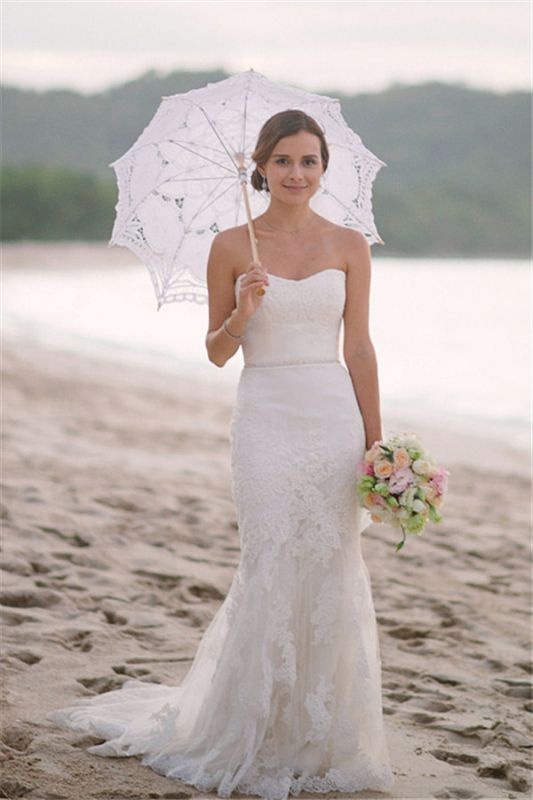 Sexy Lace Wedding Dresses Cheap For Summer Beach Mermaid Strapless Simple Bridal Gowns