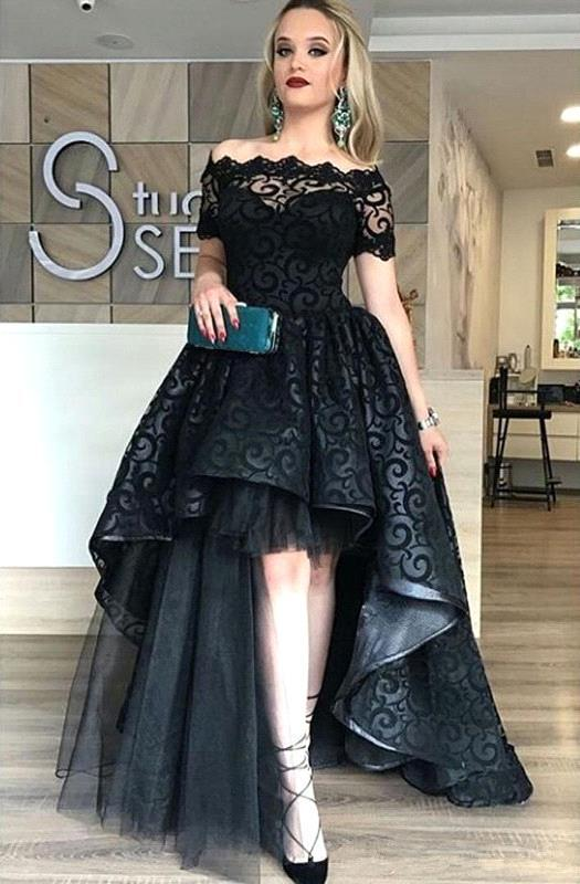 Black Short-Sleeve Lace Hi-Lo Sexy Prom Dress