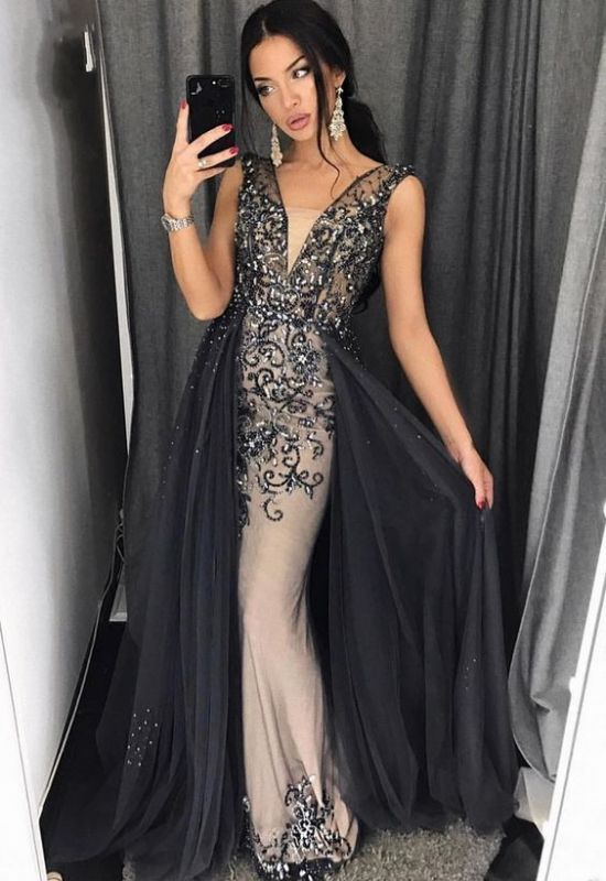 680eb2de77db9 Modern Lace Black Prom Dress