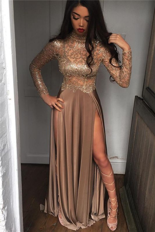 High Neck Champagne Gold Long Formal Dress Slit Long Sleeve Illusion Prom Dress FB0061