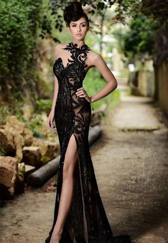 Sexy Black Prom Dress|Mermaid Evening Dress With Slit