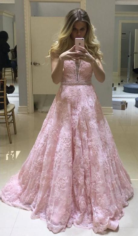 Pink V-neck Long Lace Sheer Fashion A-line Evening Dresses