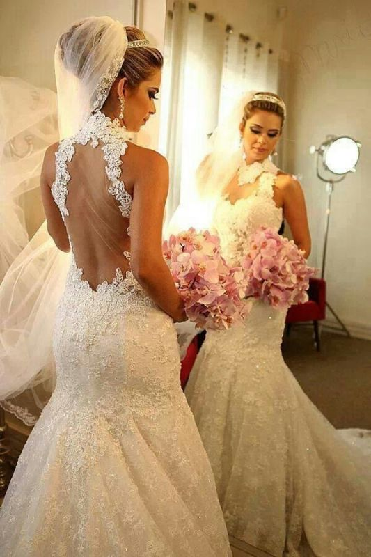 Sexy Mermaid Wedding Dresses Cheap Online  High Neck Grace Full Lace See Through Back vestidos de novia
