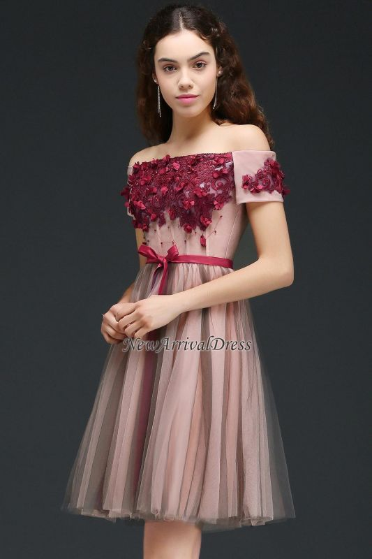 Off-the-Shoulder Burgundy-Flowers Short-Sleeves Knee-Length Homecoming Dresses