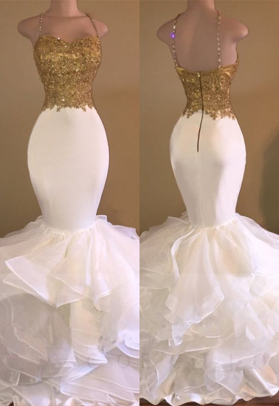 Mermaid Spaghetti Straps Evening Gowns | Lace Appliques Sleeveless Ruffles Prom Dresses Cheap