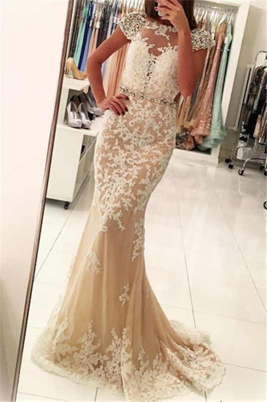 Fashion Appliques Round Neck Cap Sleeves Mermaid Prom Dress