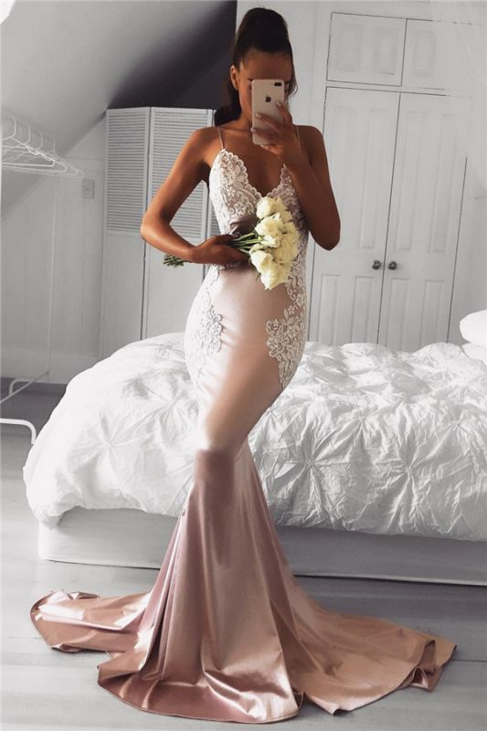 Spaghetti Straps Mermaid Prom Dresses Cheap | Lace Sexy Long Formal Dress