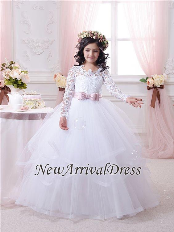 Lace-Appliques Ball-Gown Long-Sleeves Flower-Girl-Dresses