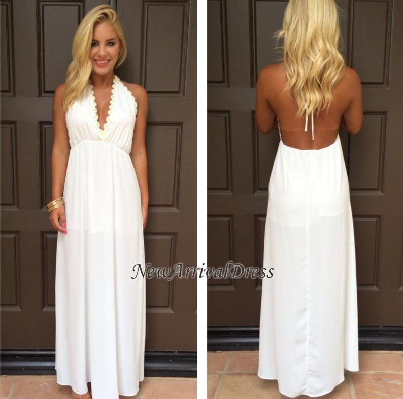 7de5bb260b0f Backless Maxi Halter White V-Neck Attractive Summer Prom Dresses ...