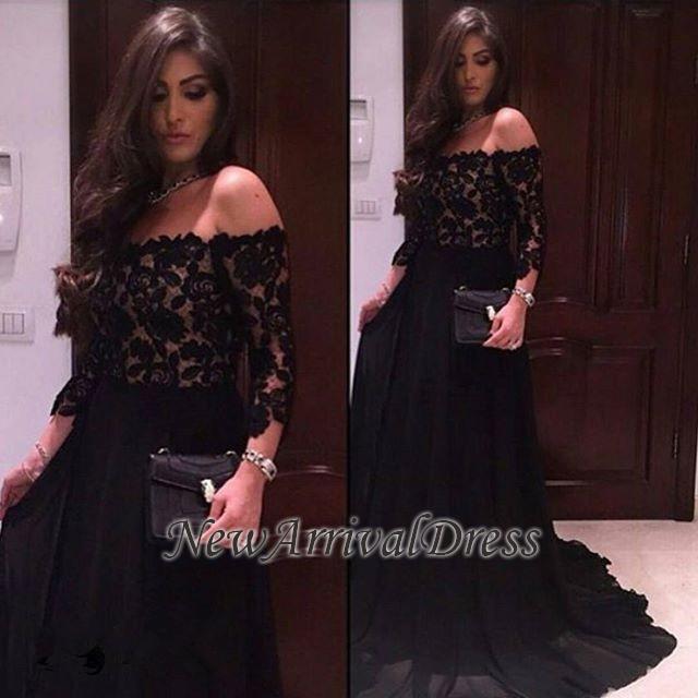 d0094bdb34f A-line Off-Shoulder 3 4-Sleeves Lace Modern Prom Dress BA5517  Item Code   D153413446549570