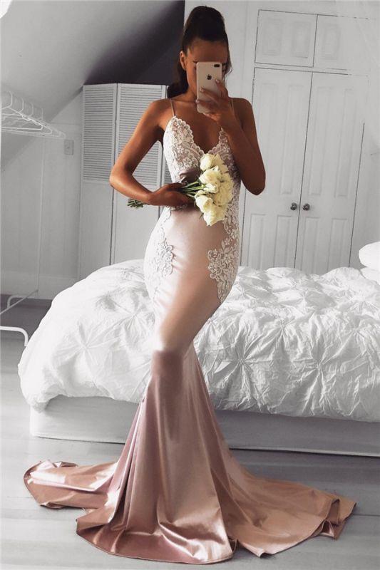 Spaghetti Straps Mermaid Prom Dresses Cheap | Lace Sexy Long Formal Dress