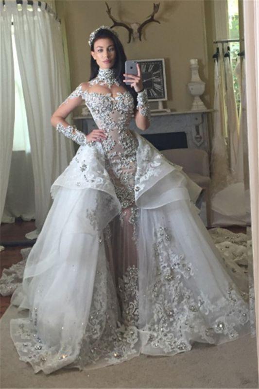 Appliques Long Sleeve Glamorous Detachable Train Tulle High-Neck Wedding Dresses Cheap Online