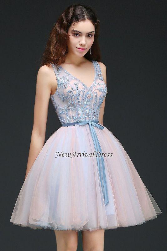 V-Neck Puffy Sky-Blue Flowers-Beaded Fairy Homecoming Dresses