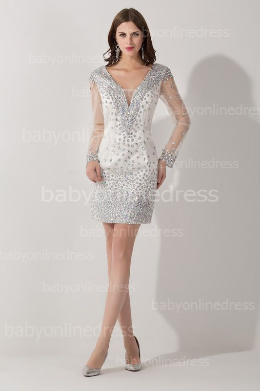 6918d2d1b8 Charming V-Neck Long Sleeves Short Prom Dress With Beadings And Crystals  Cocktail Gowns  Item Code  D153793137483667