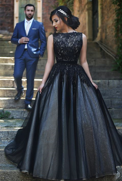 New Arrival Black Lace Prom Dresses Long Custom Made Evening Gowns  YZ032