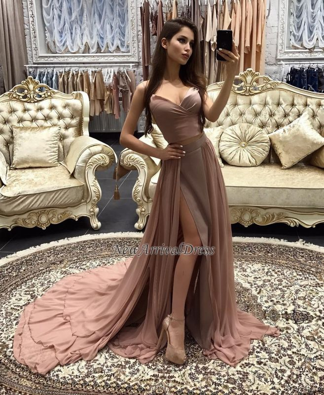 layers Long Straps Side-Slit Sexy A-line Prom Dresses