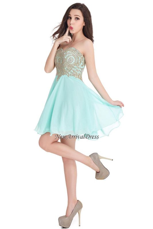 Appliques Short SweetheartMini Cheap Homecoming Dresses