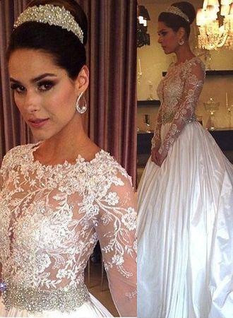 New Arrival Illusion Lace Wedding Dresses Cheap | Jewel Crystals Belt Taffeta A-line Bridal Gowns