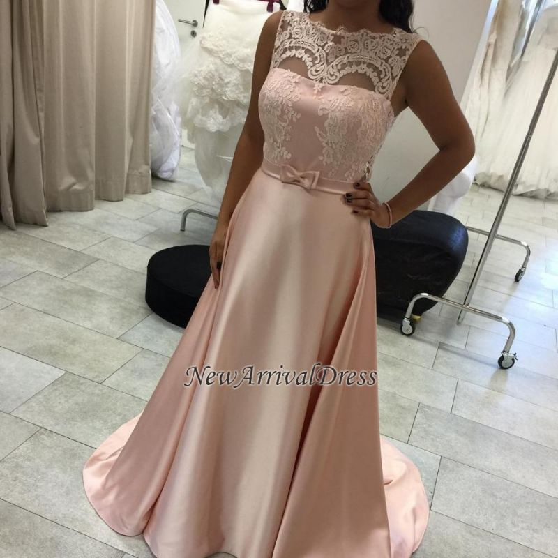 Sleeveless Lace A-Line Elegant Long Evening Dress