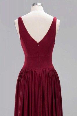 Elegant V-Neck Sleeveless Bridesmaid Dress |Aline Floor Length Bridesmaid Dress With Slit_4