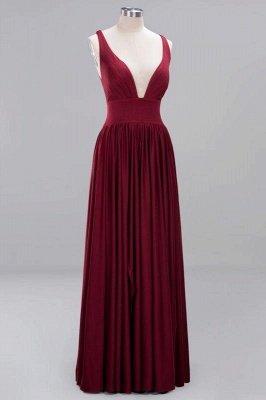 Elegant V-Neck Sleeveless Bridesmaid Dress |Aline Floor Length Bridesmaid Dress With Slit