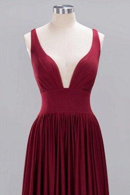 Elegant V-Neck Sleeveless Bridesmaid Dress |Aline Floor Length Bridesmaid Dress With Slit_3