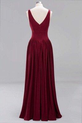 Elegant V-Neck Sleeveless Bridesmaid Dress |Aline Floor Length Bridesmaid Dress With Slit_2
