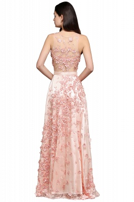 ALLY | A-line Floor Length Pearl Pink Evening Dresses with Appliques_6