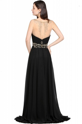 AVA | A-line Scoop Chiffon Prom Dress With Lace_3