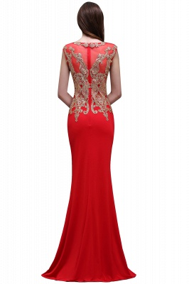 BELEN | Sheath Round Neck Floor-Length Red Prom Dresses With Applique_3