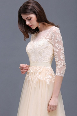 AUBREY | A-line Scoop Champagne Prom Dress With Sleeve_9
