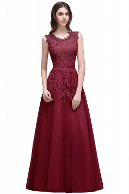 Red A-line Beaded Long Bateau-Neck Lace Party Dresses_3
