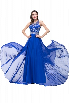 ELLA | A-line Crew Floor-length Sleeveless Tulle Prom Dresses with Crystal Beads_10