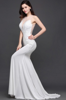 AVERY | Mermaid Scoop Chiffon White Evening Dress With Beadings_6