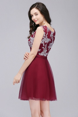 CARMEN | A-line Short Pink Tulle Homecoming Dresses with Lace Appliques_7